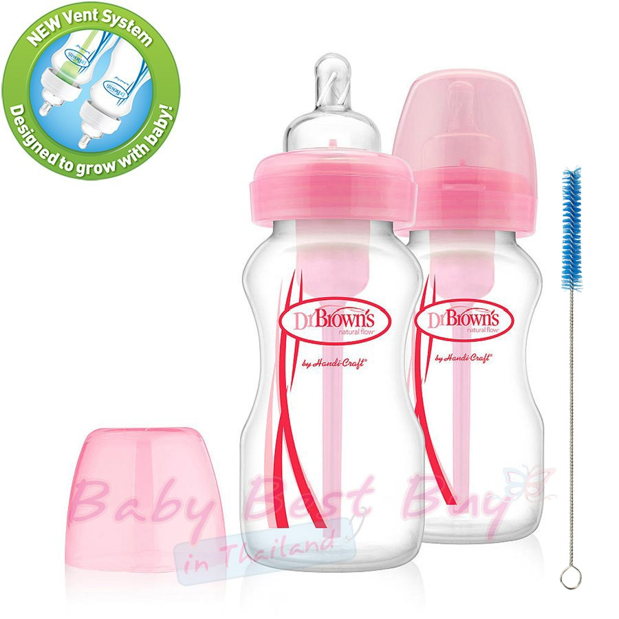 Dr 3 Bottles Brown/'s Natural Flow Options 4 oz Baby Bottles Pink